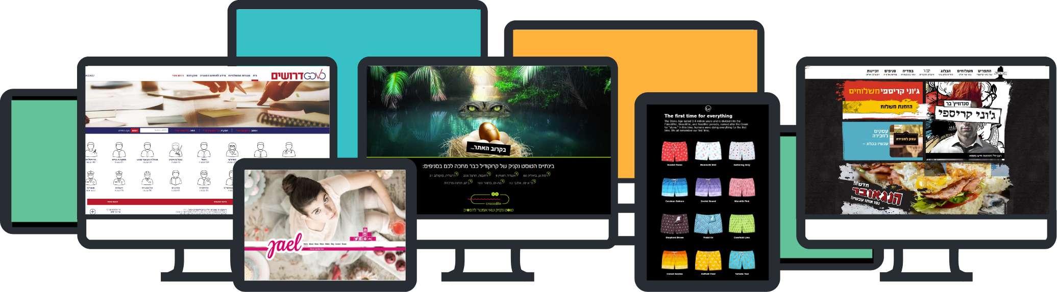 דוגמאות לאתרי תדמית, תוכן וחנויות דיגיטליות.